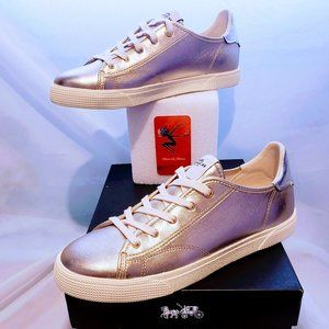 Coach Shoes - 🆕HP🌟Coach Champagne metallic sneakers Style C136